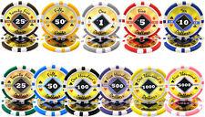 New Bulk Lot of 1000 Black Diamond 14g Clay Poker Chips - Pick Denominations!
