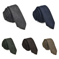 Men's Wool Ties Herringbone Tweed Classic Business Wedding Formal Wool Ties B