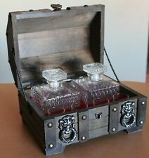 Vintage Wood Treasure Chest Bar Set 2 Decanters 4 Shot Ye Olde Curiosity Shop