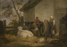 Enmarcado George Morland Print-Boyero y Milkmaid (dibujo pintura arte cartel)