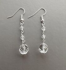 Clear crystal drop earrings .. glass Czech bead elegant glam silver tone jewelry