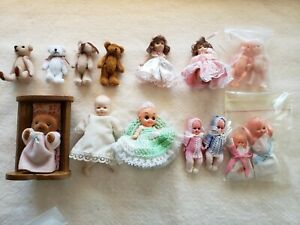 Miniature baby dolls and bears