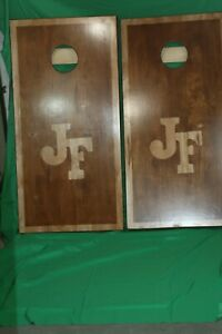 cornhole boards made to order stained or painted many designs initials in showen