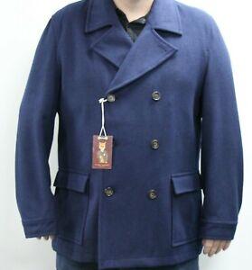 Harry Brown Plus Premium Navy Wool Blend Pea Coat Sample 6621