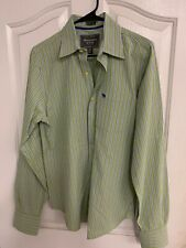Abercrombie & Fitch Muscle Shirt Green Stripes Men's Small Long Sleeve Great Con