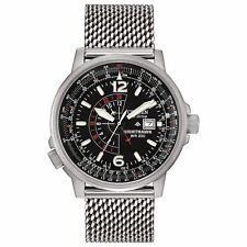 Citizen Eco-Drive Nighthawk Men's BJ7008-51E Refurbished Mesh Band 42mm Watch