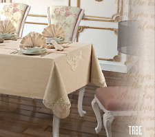 """NEW TABE/TROPIK LUXE SET TABLECLOTH+6 NAPKINS BEADED LACE 63""""X86'' CAPUCCINO"""