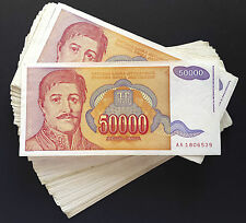 Yugoslavia BUNDLE LOT 100 notes 50000 Dinara P-142 - 1994 HYPERINFLATION *XF-AU*