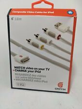 OEM Griffin AV Composite Audio Video RCA Cable Adapter For Apple iPhone 3GS/4/4S