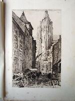 Paul Adrien BOUROUX gravure eau forte etching église sainte walburge à Audenarde