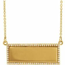 14K Yellow Gold Custom Diamond Frame Nameplate with Necklace