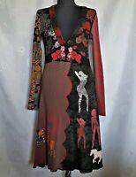 AUTHENTIC DESIGUAL LOGO ROSES EMBROIDERY BLACK COTTON WOMEN'S DRESS-SIZE:12/M