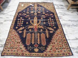 antique Agra blue handmade wool rug carpet 5x7