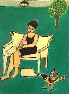 BIRD TALK Raw Folk Art Brut Painting Outsider T. Marie Nolan Original Vision