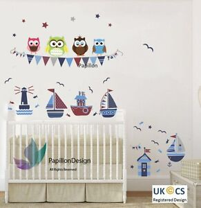 Owls, Seagulls, Sailing Boat, Fish, Flag, Stars Nursery Decal Baby Wall Sticker