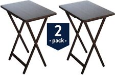 2 PACK TV Tray Table Dinner Laptop Work Stand Meal Tables Set Folding Brown NEW