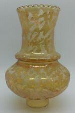 Vintage Chimney Hurricane Lamp Flocked Shade Crimped Edge Amber Carnival Glass