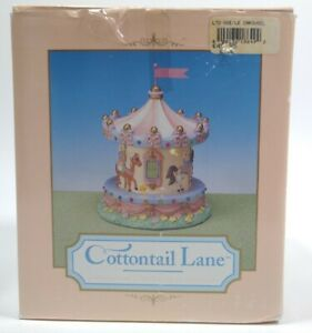 Easter Cottontail Lane Bunny Music Box Carousel 18694-7 Midwest of Cannon Falls