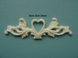 Decorative chic heart centre scroll onlay applique furniture moulding O25A