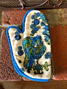 Vtg 60s/70s Blue Rooster Terry Cloth Kitchen Oven Mitt Glove -Hot Pad Potholder