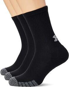 New - 2020 Under Armour UA Heatgear 3 Pack Black Socks 001