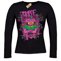 Zombie Pumpkin T-Shirt  ladies long sleeve