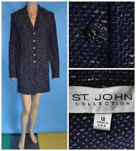 St. John Collection Tweed Knit Navy Blue Long Jacket M L 12 Coat Dress Cream
