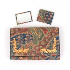 Vtg clutch handbag purse plastic elephants fabric hand painted Japan Japanese