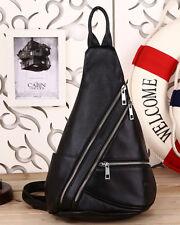 Men's Black Real Leather Crossbody Backpack Sling Shoulder Bag Casual Sports Use