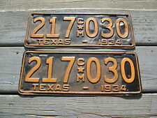 1934 34 TEXAS TX PAIR LICENSE PLATE NICE SET YOM - GOOD COMMERCIAL TRUCK TRK