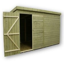 Garden Shed 10x8 Pent Shed Pressure Treated Tongue and Groove Door Left
