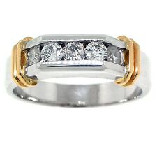 .80ct MENS ROUND DIAMOND WEDDING BAND 14k TWO-TONE GOLD