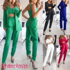 Womens Blazer Suit Office Formal Business Uniform Work Jacket+Crop top+Pants UK