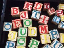 30 Plus Vintage Wooden Childrens Building Blocks Alphabet Numbers ABCs Toy