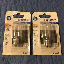 Lot of 2 ~ GE Lighting 71604 40 Watt Appliance E17 Base T8 Light Bulb Brand New