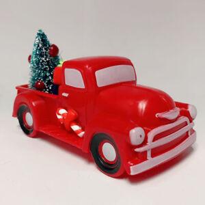 Christmas Vintage Red Truck w/Tree Cake Topper Car Model Ornament Kid Xmas Decor