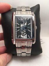 Relic by Fossil Mens Rect Skeleton Dial Black Gunmetal Quartz Watch ZR77133-H83