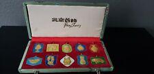 Vtg 10 Peking Jewelry Cloisonne Design Medallion/Pendant In Silk Box