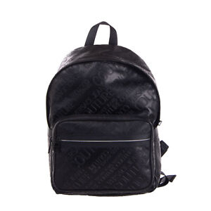 RRP €185 VERSACE JEANS COUTURE Backpack Large Embossed Logo Padded Straps Zipped
