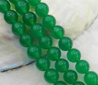 "8mm Natural Green Jade Round Gemstone Loose Beads 15"" Strand AAA"