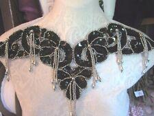 "15"" Fringe Bead & Sequin *Shoulder Neckline Applique Black Silver *Fabulous*"