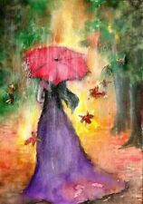 ACEO red umbrella woman Fall Autumn rain landscape original painting art card