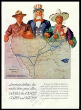 1943 Uncle Sam art American Airlines USA map vintage print ad