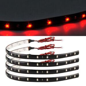 8pcs Red 15 SMD LED 30cm Car SUV Flexible Grill Light Lamp Strip Waterproof 12V