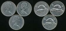 Canada, Group of 3 Elizabeth II 5 Cent Coins (1975, 1976, 1977) - Very Fine