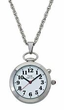 TimeOptics Women's Talking Silver-Tone Pendant Day-Date Alarm Watch # GWC300S