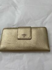 New Fossil Gold Leather Wallet