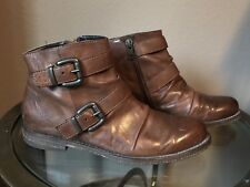 Crown Vintage Women's Brown Double Buckle Ankle Bootie size 6M 6109375