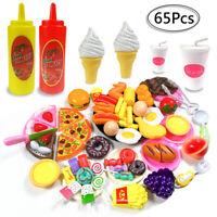 Kids Pretend Role Play Kitchen Pizza Hamburger Food Toy Cutting Set Child Gift
