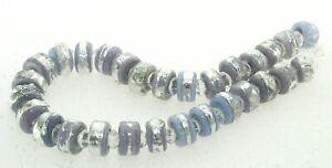 OliveStuart Handmade Lampwork Beads 29 purple disc w/sterling silver